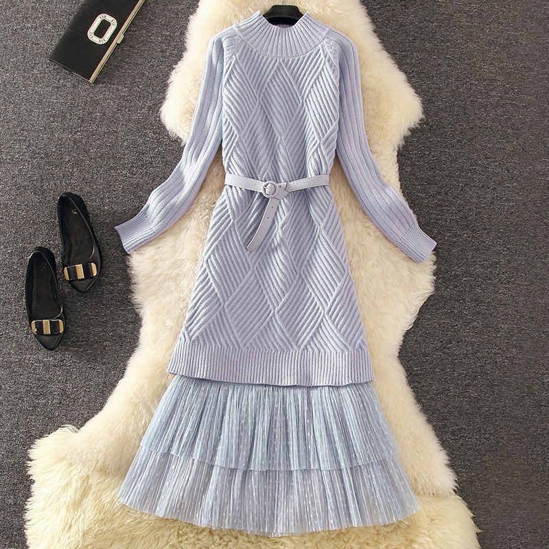 Autumn Winter Women Dress Set 2019New Knitted Pullover Sweater Dress+Cake Pleated Skirt Two-piece Suit Elegant Ladies Dress 538