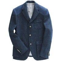 men blazer slim fit blue 53% wool autumn winter high quality mens blazer jacket single breasted royal blue men clothes 2018 3xl