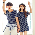 Korean Black And White Striped Couple Clothes T-Shirt Women Kawaii Summer Style Harajuku Shirt CamisetaTops Plus Size Pink
