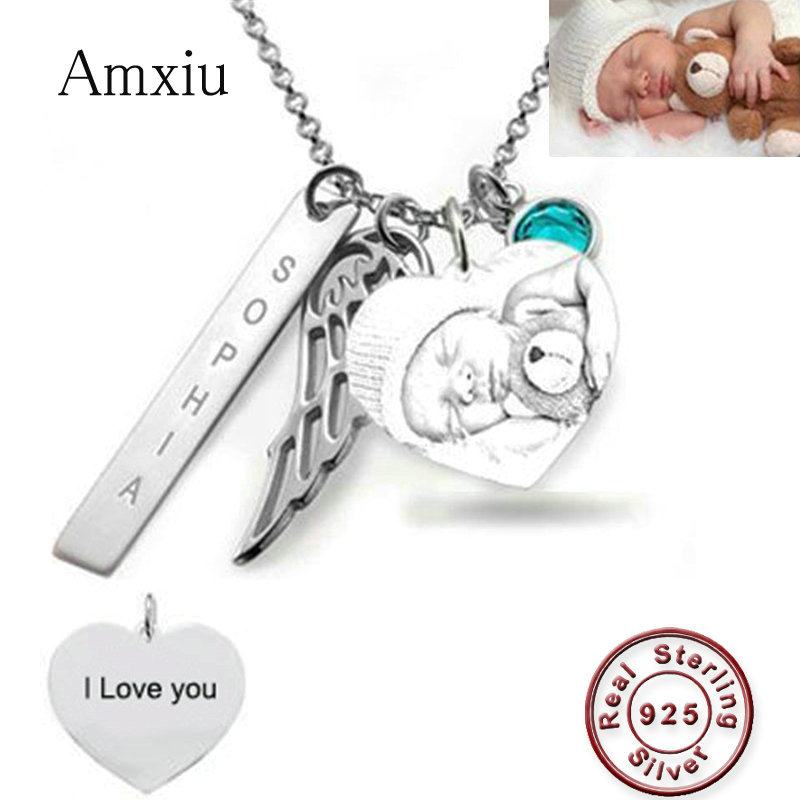 Amxiu personnalisé bébé Photo collier gravé nom collier 925 en argent Sterling coeur aile collier pour les femmes cadeau de la mère