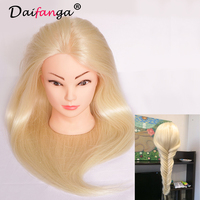 Mannequin Head Salon Real Hair 22 Blonde Training Hairdressing Practice Cosmetology Mannequins Hair Styling With Free