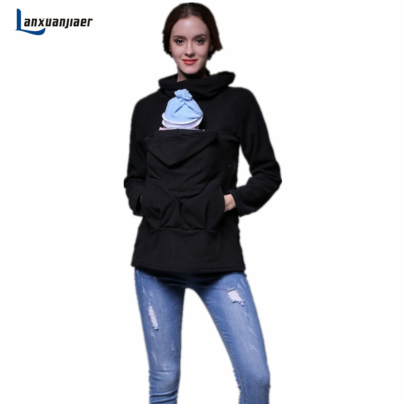Lanxuanjiaer Women Maternity Kangaroo Hooded Sweatshirt For Wearing Baby Carriers Holder Fleece Pregnant Coat warm Outwear kangaroo pocket drop shoulder color block sweatshirt