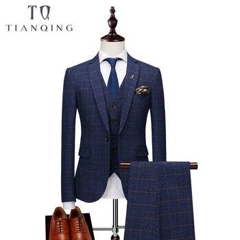 Brand Men Suit 2019 New Arrival Men Suit 3 Pieces Classic Plaid Suits Men Business Wedding Suits Slim Fit Men Tuexdo Party Dress