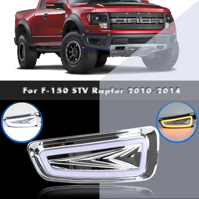 US $149 0 |LED Daytime Running Lamp and light Turn Signal Based DRL For F  150 STV Raptor Aftermarket Car Styling Parts 2010 2014-in Car Headlight