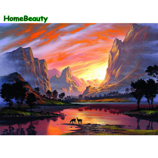 Painting Calligraphy Wall Decoration Modular Picture By Number Hand Painting  Sunrise Lake Drawing Coloring By Number