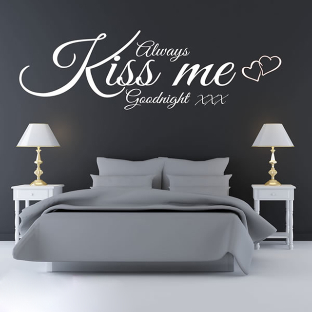Superieur ALWAYS KISS ME GOODNIGHT WALL ART QUOTE STICKER Newly Married Young Bedroom  Background Decorative Wall Decals