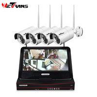 Wetrans CCTV Security Camera System Wireless 4CH 1080P HD Home Surveillance Kit Camera Outdoor LCD NVR Wifi Night Vision P2P