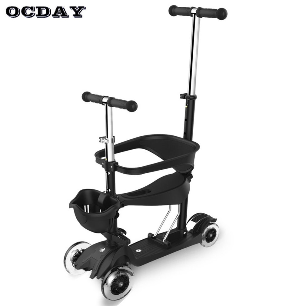 OCDAY 3 in 1 Children ScooterKids Walkers 4 Wheels Skateboard Kick Scooters Full Guardrail Adjustable T-bar Handle Baby Walker new the european ce standards pp plastic baby walkers scooters musical scooter for children 2 years of age or older