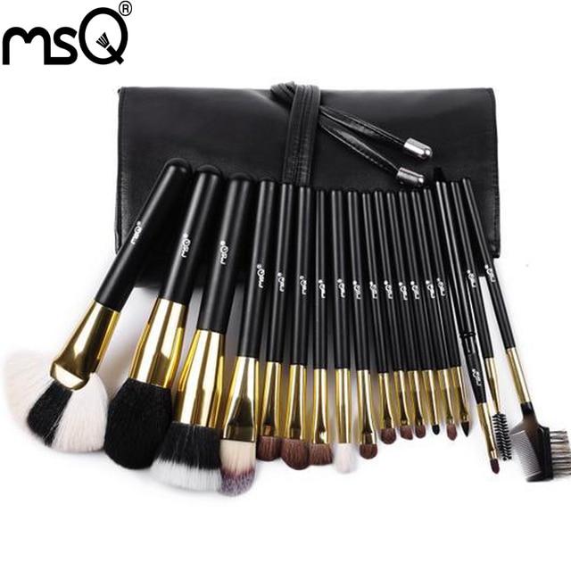 MSQ 18pcs Black Makeup Brushes Cosmetics Make Up Brush Kits Soft Animal Hair With PU Leather Case