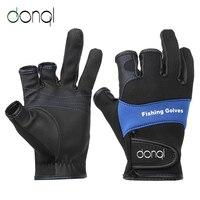 DONQL открытая спортивная рыбалка перчатки Нескользящие три пальца дышащие кожаные перчатки неопрен + искусственная кожа зимнее рыболовное о...