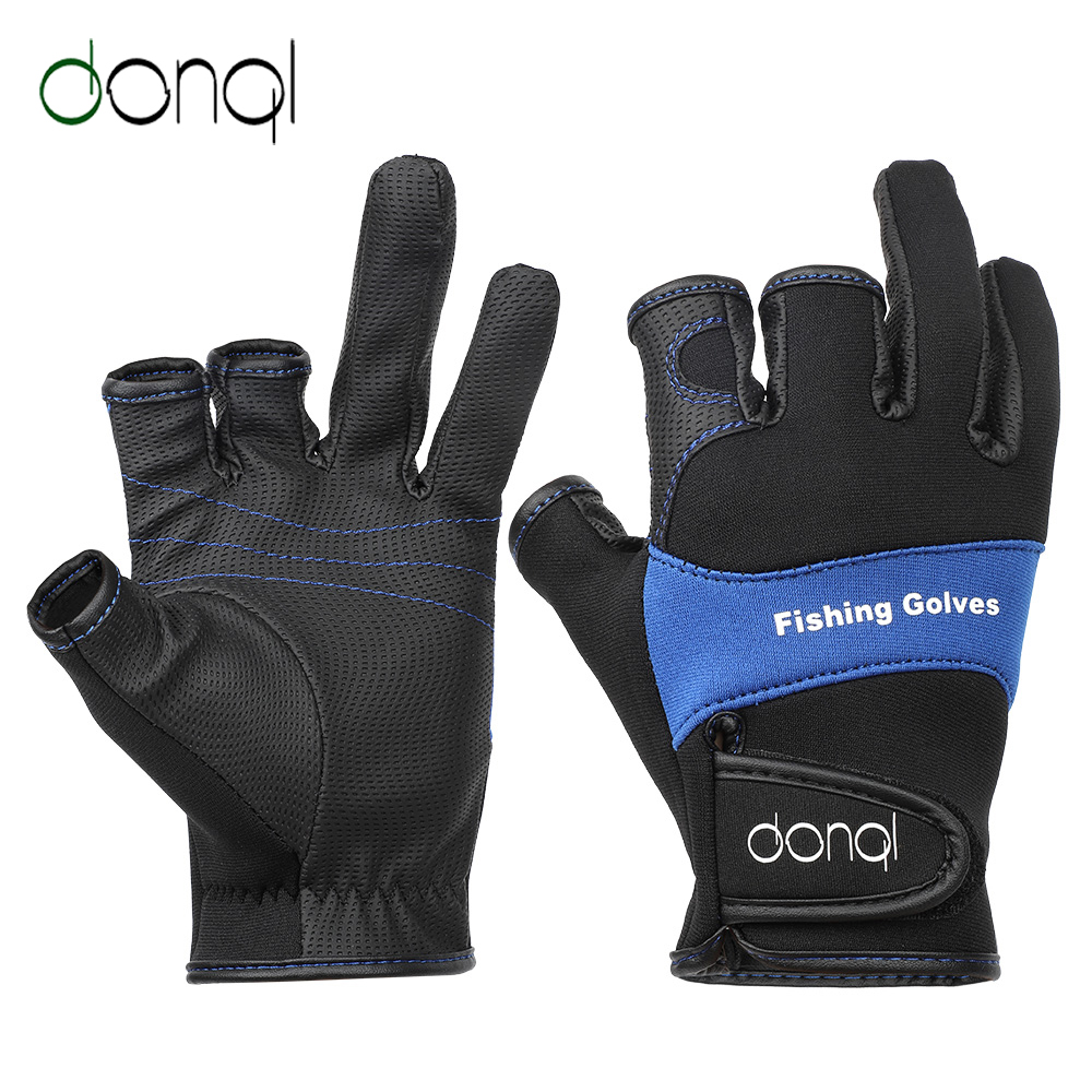 DONQL Outdoor Sports Fishing Gloves Non-slip Three Finger Cut Breathable Leather Gloves Neoprene + PU Winter Fishing EquipmentDONQL Outdoor Sports Fishing Gloves Non-slip Three Finger Cut Breathable Leather Gloves Neoprene + PU Winter Fishing Equipment
