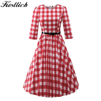 Kostlish 2017 Plaid Summer Dress Women 3 4 Sleeve Audrey Hepburn 50s Vintage Dress With Belt