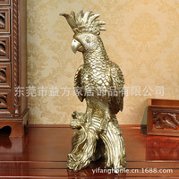 Practical ideas home with crown silver jewelry gifts American parrot sculpture ornaments resin crafts processing