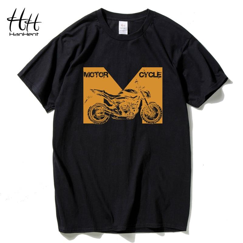 HanHent Zomer Mannen Katoenen Kleding Motorfiets Print T-shirts - Herenkleding