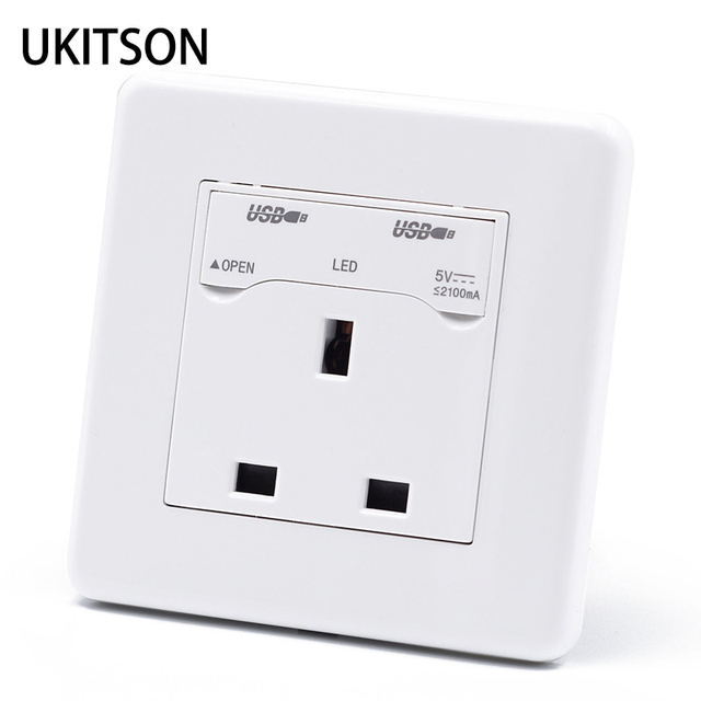 Dual Usb Charging Port 5v 2100ma Uk Singapore Electric Wall Outlet For Smart Phone Charge Battery
