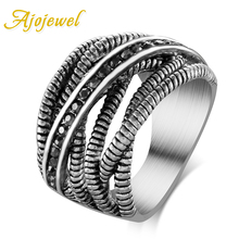 Ajojewel Brand Retro Jewelry Unique Thick Cross Designer Thai Silver Plated Vintage Ring Women With CZ Stones