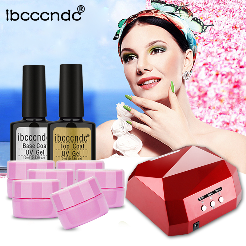 Ibcccndc Nail Art Manicure Tools Set 36W UV LED Lamp 6X5ml Flower Nail Gel Polish Top Coat Base Coat Varnish Nail Art Design Kit