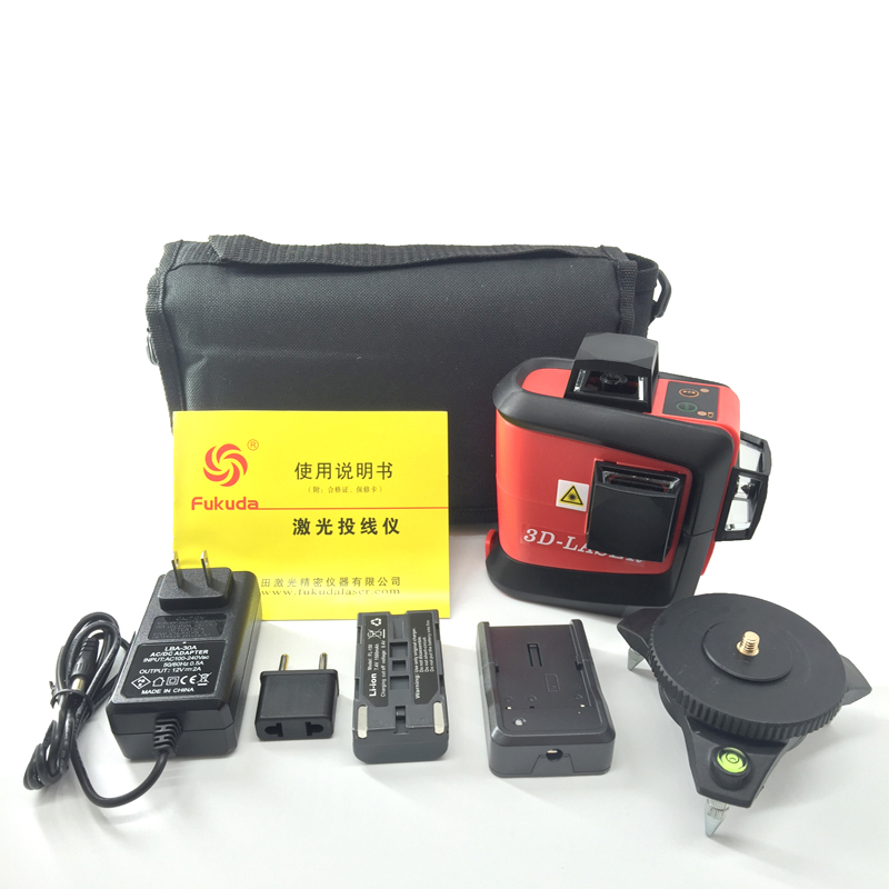 original Fukuda 3D MW-93T 12Lines Laser Level Self-Leveling 360 Horizontal Vertical Cross Super Powerful Green Laser Beam Line xeast 12 line laser level 360 vertical and horizontal self leveling cross line 3d laser level red beam better than fukuda