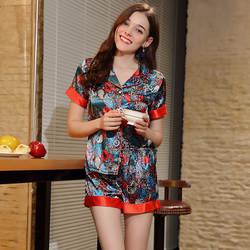 Лидер продаж 2019, Новая Домашняя одежда с принтом, женские весенние шорты, два комплекта, с коротким рукавом, с отложным воротником