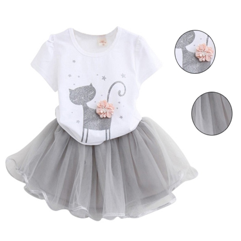 New 2pcs Kids Baby Girls Outfits Cat Pattern T-Shirt Tops+Tulle Princess Dress Set girls baby long sleeve tops t shirt bib cartoon minnie 2pcs outfits set 1 5y