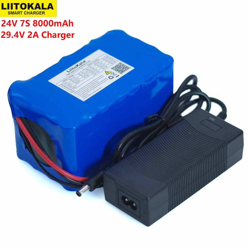 LiitoKala 24V 7S4P 8000mAh high power 8AH 18650 Lithium Battery pack with BMS 29.4V Electric bicycle electric car+2A Charger 24v e bike battery 8ah 500w with 29 4v 2a charger lithium battery built in 30a bms electric bicycle battery 24v free shipping