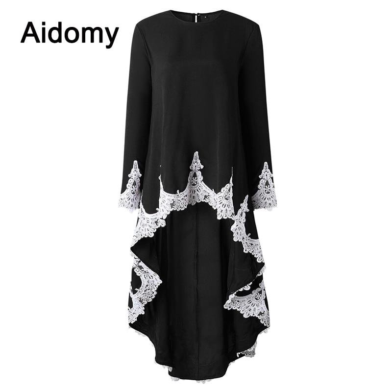 Autumn Asymmetrical Tops Women Lace High Low Long Shirt Casual Female Long Sleeve Elegant Ruffles Hem Peplum Top Plus Size Cloth