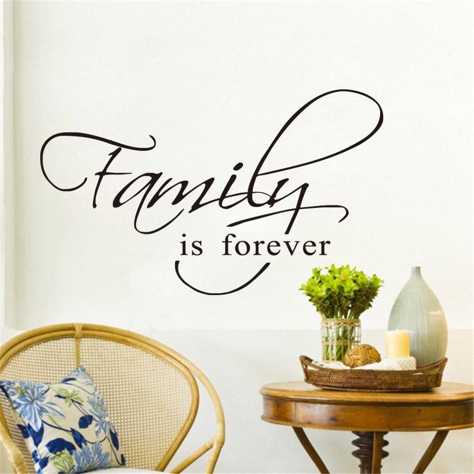 Export Portal Word Art For Walls Decor: DCTOP Family Is Forever Words Lettering Wall Sticker For