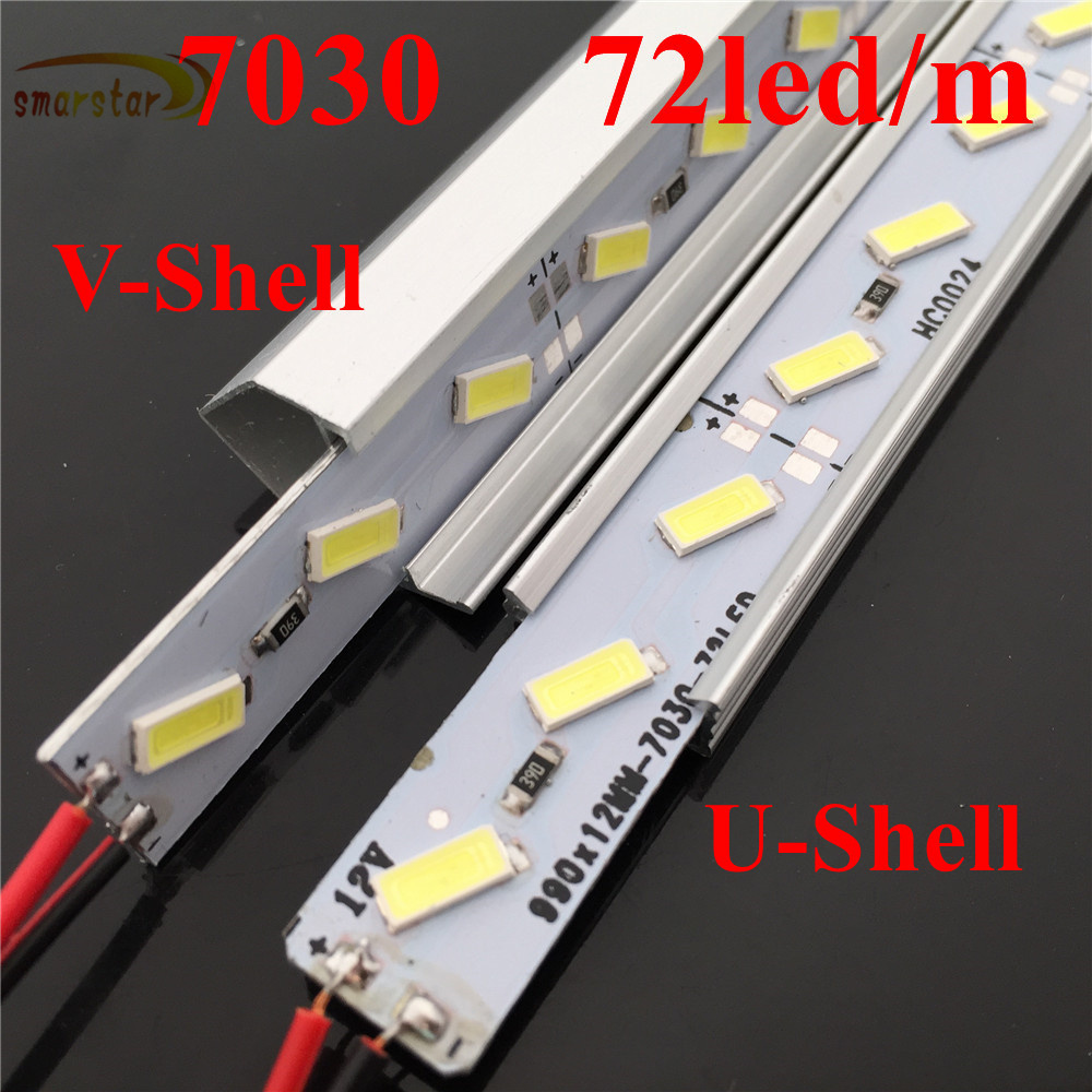0.5m 19.7 inches Aluminum Channel 7030 <font><b>Led</b></font> Rigid Strip Lights U <font><b>V</b></font>-Shaped Shell DC <font><b>12</b></font> <font><b>V</b></font> 50cm 36leds 11Watts <font><b>LED</b></font> <font><b>Bar</b></font> Light Lamp image