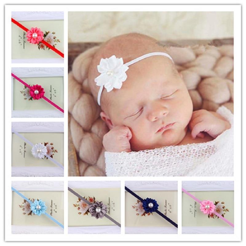 dd309a1892e55 Bébé Bandeau Nouveau-Né Floral Perle Bandeaux Élastique Infant Toddler Bande  De Cheveux Chapeaux Accessoires De Cheveux