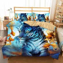 Hand drawn animals 3D bedding set  Duvet Covers Pillowcases Lion tiger wolf Cartoon comforter sets bedclothes bed linen