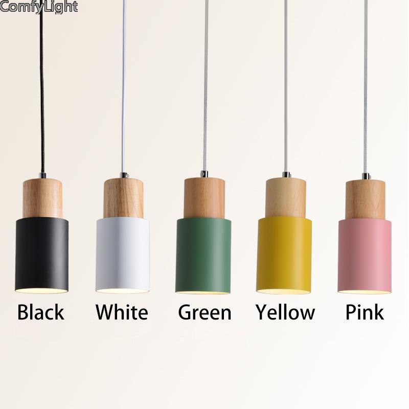 Suspension en bois design lampe à led kintchen ilot/Loft/bar luminaire suspendu décoration d'intérieur lustre luminaire