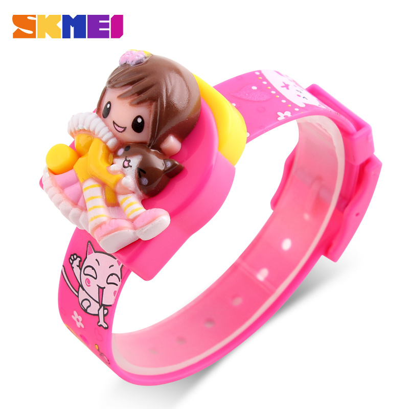 SKMEI New Fashion Children Cartoon Klockor Creative Students Watch Girls Kids Digital Lovely Armbandsur Relojes 1240