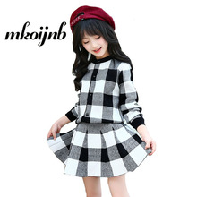 hot deal buy 2018 new autumn girls plaid knitted sweaters & skirts 2pcs girls clothing sets teens long sleeve cute suit for 4 6 8 10 12 years