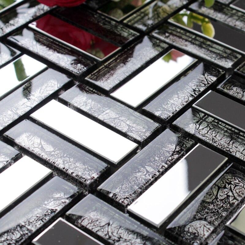 Cristal gris mosaico de acero inoxidable EHM1017 para baño ducha ...