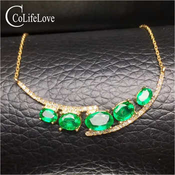 Elegant natural emerald necklace for wedding 5 pieces Zambia emerald silver necklace solid 925 silver emerald fine jewelry - DISCOUNT ITEM  0% OFF All Category