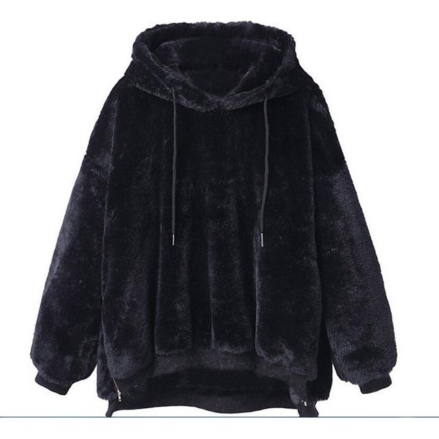 2019 Women Hoodies Sweatshirts Winter Warm Hooded Tops Loose Soft Cute Coat Harajuku Ladies Basic Kawaii Pullover Sweatshirts