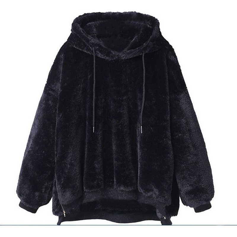 2019 женские толстовки с капюшоном, Зимние Теплые Топы с капюшоном, свободное мягкое милое Пальто Harajuku, Женский базовый милый пуловер, толстовки
