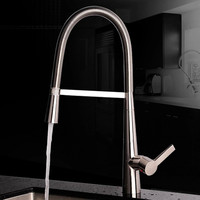 JMKWS Modern Kitchen Faucets Pull Out Mixer Tap Bathroom Vessel Sink Faucet Brushed Wash Water Tap Spring Style Accessories