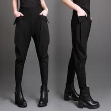 تخفيضات كبيرة! جديد الربيع الصيف الإناث الحريم السراويل سراويل غير رسمية السراويل حجم كبير جيوب كبيرة الحريم السراويل السراويل السوداء
