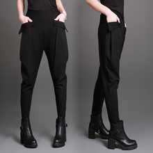 Hot Sale! New Spring Summer female harem pants casual trousers pants plus size big pockets harem pants trousers black cheap WOMEN heroprose Flat Knitted Full Length REGULAR Pencil Pants Elastic Waist Solid COTTON SSP8516 Cotton Fabric