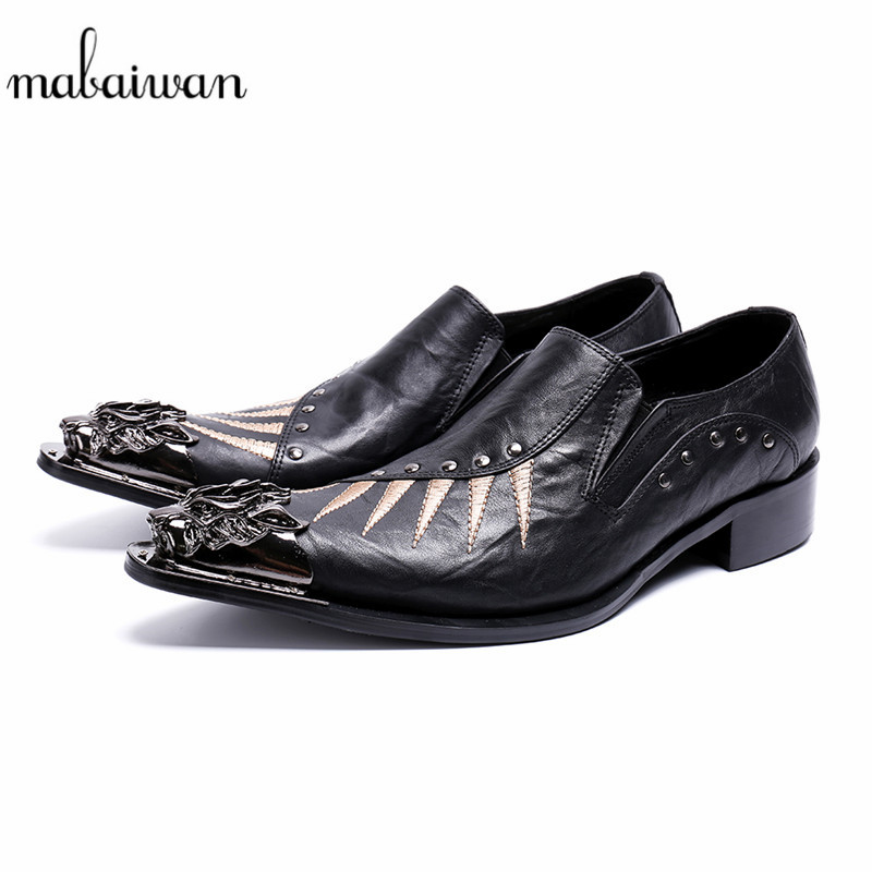 Mabaiwan Black New Casual Men Shoes Genuine Leather Loafers Rivet Slipper Dress Shoes Men Slip On Metal Toe Handmade Party Flats branded men s penny loafes casual men s full grain leather emboss crocodile boat shoes slip on breathable moccasin driving shoes