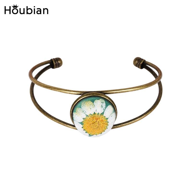 Houbian Vintage Resin Dried Flower Bracelet Sunflowers Opening Bangle Bracelet Jewelry