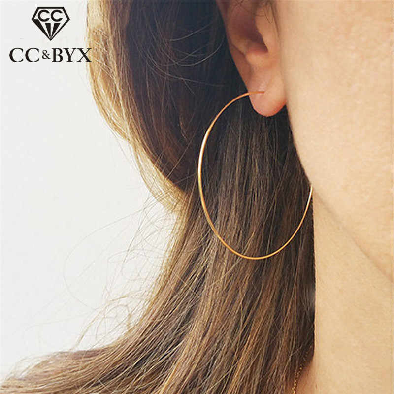 CC Solid 925 Silver Hoop Earrings For Women 15mm-70mm Round Circle Classic Big Office Career Earring Simple Fine Jewelry CCE529