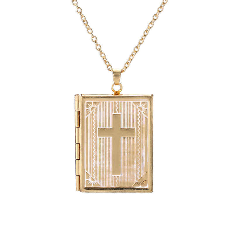 Square Book Phase Box Cross Necklace Men's Neutral Personality Stainless Steel Retro Celebrity Geometric Popular Bead Chain