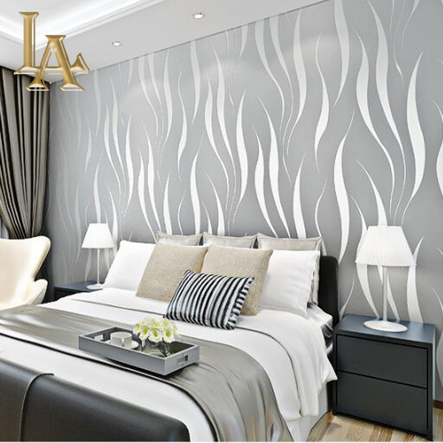 Fashion Embossed Flocking 3D Striped Wallpaper For Walls Non Woven