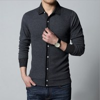 Mens Spring Autumn Long Sleeve T Shirt Men Plus Size Work Wear Tshirt Dress Tee Shirt