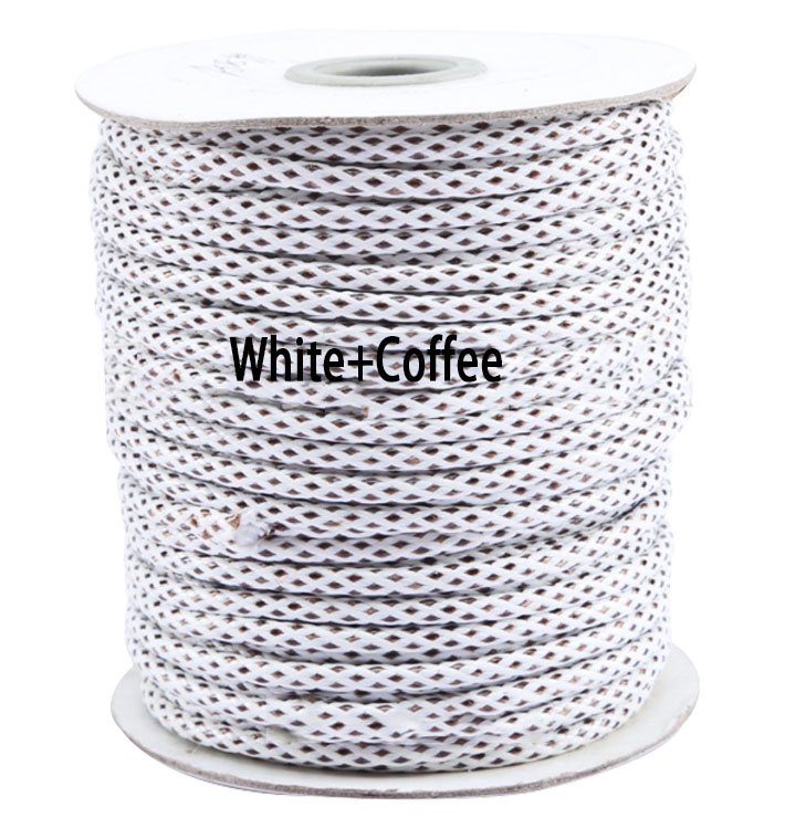 3.5mm White+Coffee Korea Core Waxed Wax Cord String Thread+50yds/roll DIY Jewelry Findings Accessories Bracelet Necklace rope