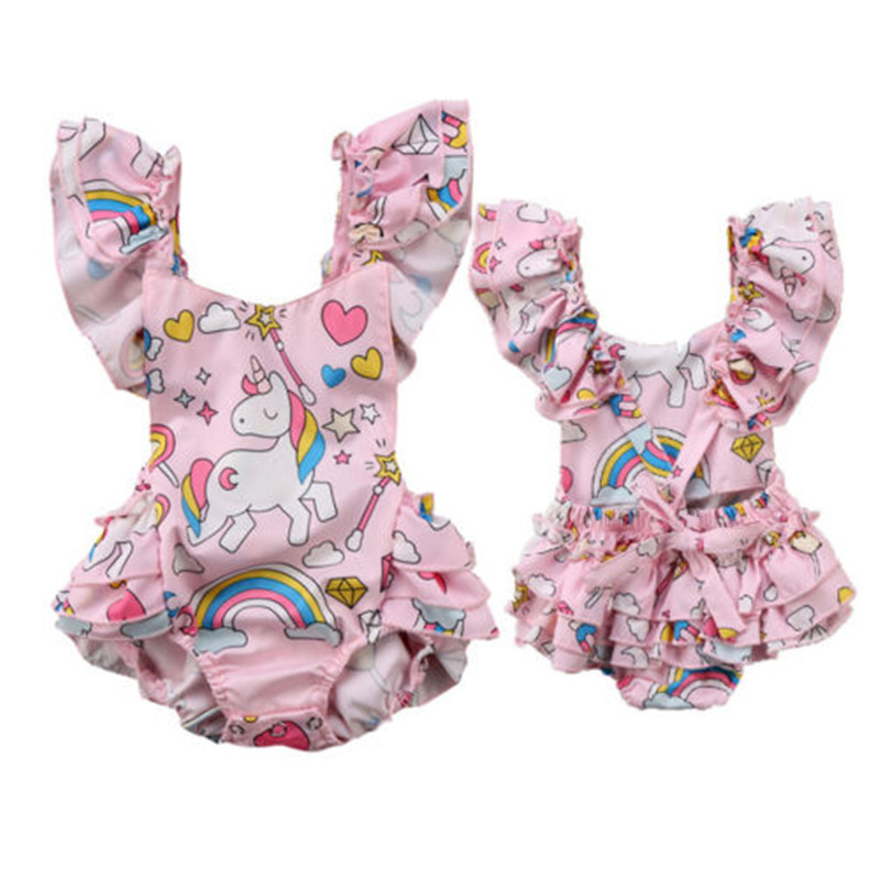 2018 Summer New Arrival Newborn Baby Girls Clothing Backless Unicorn Romper Jumpsuit Home Outfits Children Active Sunsuit Set