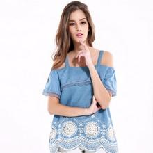 Fashion Women Embroidery Lace Jeans Denim Blouse Spaghetti Strap Off Shoulder Cotton Shirt Tops FS99