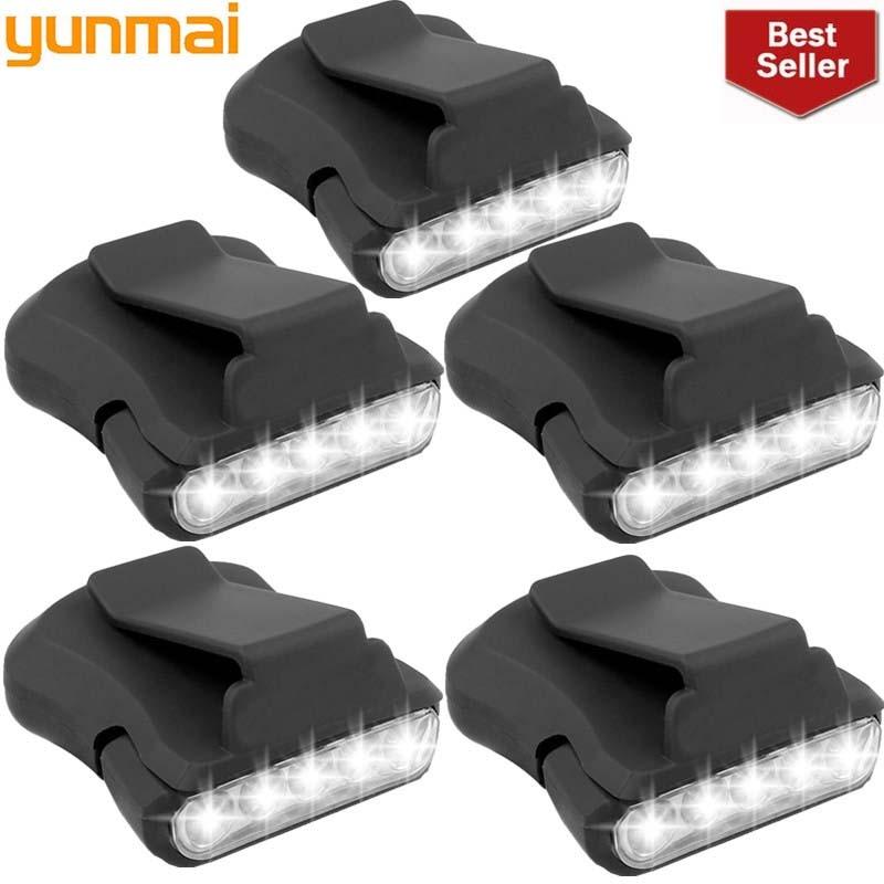 2019 New 5pcs 5 LED Sensor Head Cap Hat Lamp Light Headlamp Torch Black Hiking Flashlight Cycling Flash Lights Outdoor Riding